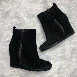 Nine West • Black Suede Wedge Boots
